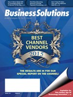 Business Solutions magazine cover image for 2014 and 2015 Best Channel Vendor awards